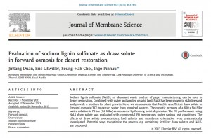 Desert restoration using forward osmosis with sodium lignin sulfonate as draw solute