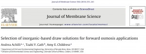 selection of inorganic draw solutes for forward osmosis applications